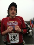 Jumping up and down for warmth before the start of the 2012 Yakima River Canyon Marathon